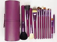 Профессиональный набор кистей MAC в 12 шт тубусе Mac Cosmetics  кисти Фиолетовые реплика