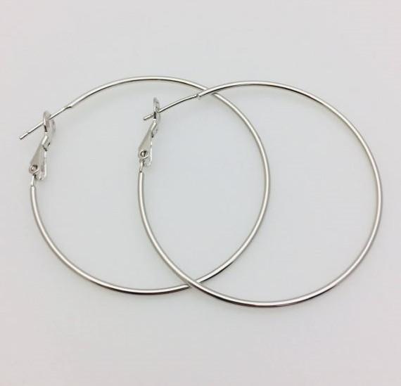 Серьги кольца Fallon 45 мм, родий
