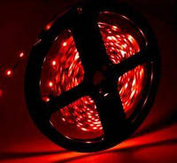 Цветная светодиодная лента КРАСНЫЙ SMD2835 Red 60led/m, 5W*1m, 12Vdc,  Кратность реза 5 см., фото 1