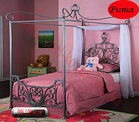 """Детская металлическая кровать с балдахином """"Рита"""" (90 см на 190 см)"""