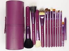 Набор кистей для профессионального макияжа укороченных MAC 12 шт в тубусе, фото 3