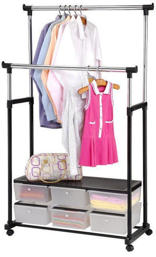 Вішалка стійка для одягу підлогова подвійна телескопічна Double-Pole Clothes-Black horse (2554)