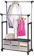 Вішалка стійка для одягу підлогова подвійна телескопічна Double-Pole Clothes-Black horse (2554), фото 1