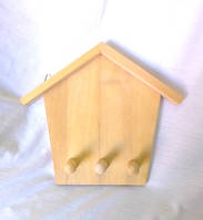 Ключница - вешалка Домик с гвоздиками №04 21.5х17.5 см дерево заготовка для декора