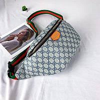 Женская поясная сумка Бананка Gucci (Гуччи) Светло-серая. Реплика. Топ качество