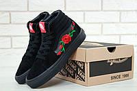 Кеды женские мужские Vans SK8 Art Full Black Flowers