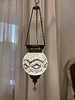 Стельовий турецький світильник Sinan з мозаїки ручної роботи БІЛИЙ КРУГЛИЙ, фото 1