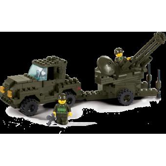 Конструктор SLUBAN серии Армия Сухопутные войска Зенитная установка + тягач, M38-B7300, 221 деталь