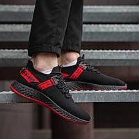 Мужские Кроссовки Крос Армані чорні з червоною стрічкою, фото 1
