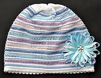 Красивая ажурная шапкочка для девочки Радуга (2-7 лет)