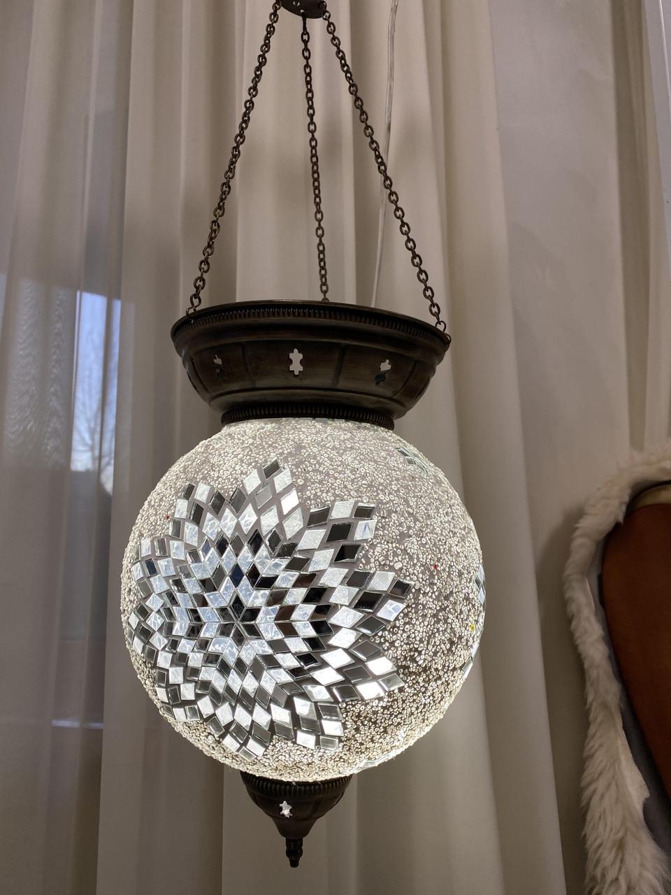 Потолочный большой турецкий светильник  Sinan из мозаики ручной работы БЕЛЫЙ