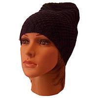 Женская вязаная шапка-носок, темно-синего цвета объемной крупной вязки