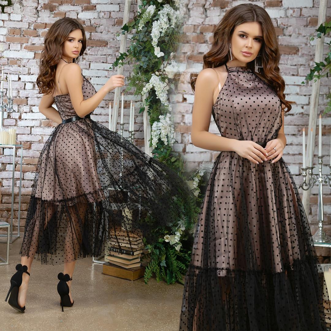Нарядное платье сарафан верх сетка низ шелк красивое платье размер:44, 46, 48