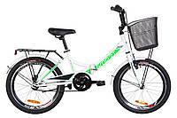 """Велосипед 20"""" Formula SMART 14G St с багажником зад St, с крылом St, с корзиной St 2019 (бело-зеленый )"""