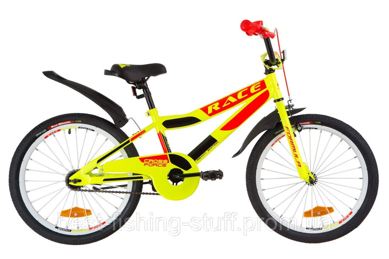 """Велосипед 20"""" Formula RACE усилен. St с крылом Pl 2019 (черно-оранжевый с бирюзовым)"""