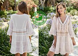 Короткое платье в стиле бохо из натурального хлопка FCo-2306