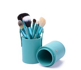 Набір професійних пензлів для макіяжу MAC 12 шт в тубусі бірюзові
