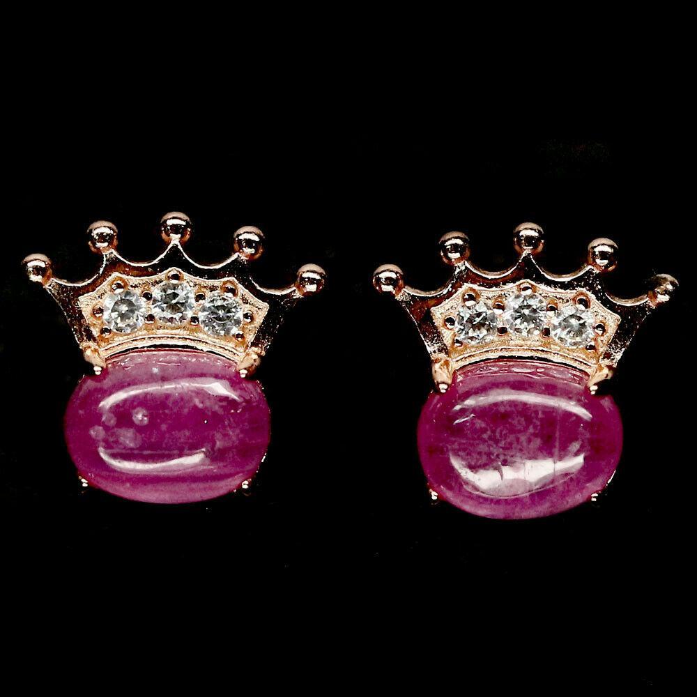 Срібні сережки - природні рожеві рубіни