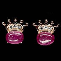 Срібні сережки - природні рожеві рубіни, фото 1