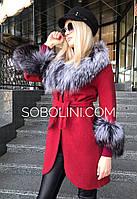 Пальто червоного кольору з полював, розміри 42,44,46,48,50