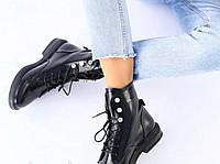 Ботинки женские высокие из натуральной кожи на н заом каблуке . Цвет черный,  Демисезон. р 38. 39
