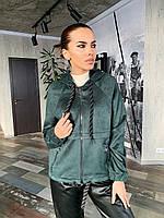 Замшевое женское  худи с капюшоном К 00551 с02