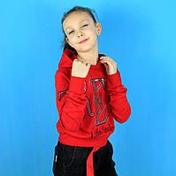 Детская кофта для девочки с капюшоном Life Style красная тм Benini размер 140,152,164,176