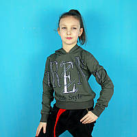 Детская кофта для девочки с капюшоном Life Style хаки тм Benini размер 140,152,164,176