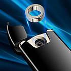 Электроимпульсная USB зажигалка круговая дуга Circular black 101_1, фото 5