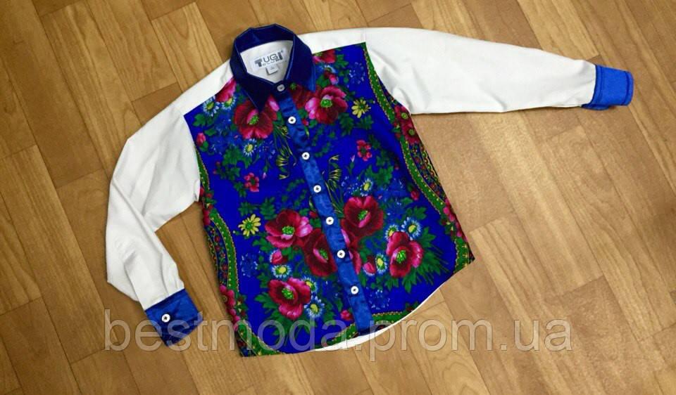 """Рубашка  мужская комбинированная с платочной отделкой и атласными вставками - Интернет-ателье """"Вestmoda"""" в Днепре"""