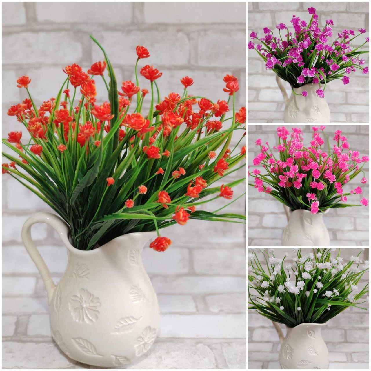 Гілочка кувшінки, штучні інтер'єрні квіти, Польша, пластикова, вис. 40 см., 6 гілок, 36/26 (ціна за 1шт.+10гр)