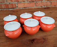 Горшочки для запекания в духовке 6 шт из керамики оранжевые 450 мл
