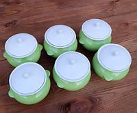 Горшочки для запекания в духовке 6 шт из керамики салатные 450 мл