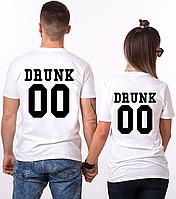 """Парные именные футболки """"Drunk"""" [Цифры можно менять] (50-100% предоплата)"""