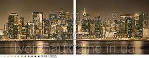 Бисерная заготовка ТМ-008. Диптих из двух частей. «Город, который никогда не спит» (сепия)