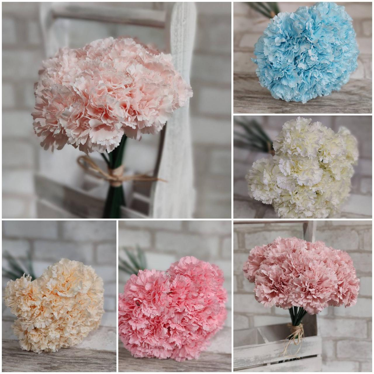 Букет штучної гвоздики, інтер'єрні квіти, для декору, Польша, вис. 37 см., 12 шт., 180/150 (ціна за 1шт.+30гр)
