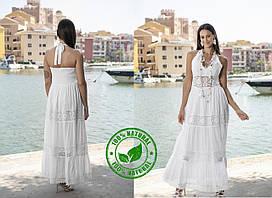 Длинное белое платье с открытой спиной  FCo-2404