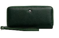 Женский кожаный кошелек на 2 молнии 19*9,5*4,5 зеленый, фото 1