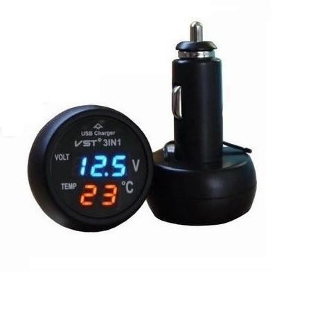 Пристрій 3 in1 ZIRY VST-706 зарядне, термометр, вольтметр