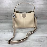 Модная женская сумка на три отделения бежевая