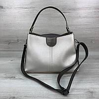 Модная женская сумка на три отделения серебристая