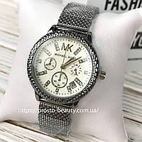 Женские часы Michael Kors (Майкл Корс) МК  стальные серебро белый циферблат дата календарь