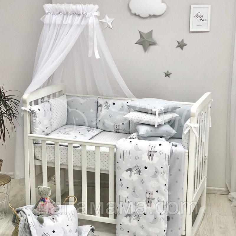 Комплект Baby Design Коты в облаках, серый