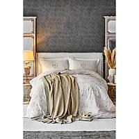 Набор постельное белье с пледом Karaca Home - Quatre delux gold 2020-1 золотой евро
