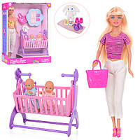Кукла DEFA 8359-BF 28см,пупс 2шт, 8см, кроватка, сумка,аксессуары,2вида, в кор,23,5-32- 10см