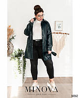 Необычный пиджак из эко-кожи в стиле casual с поясом, по бокам – накладные карманы, фото 7