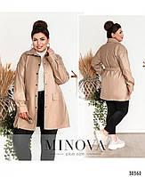 Необычный пиджак из эко-кожи в стиле casual с поясом, по бокам – накладные карманы, фото 5