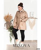 Необычный пиджак из эко-кожи в стиле casual с поясом, по бокам – накладные карманы, фото 6