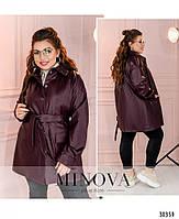 Необычный пиджак из эко-кожи в стиле casual с поясом, по бокам – накладные карманы, фото 10