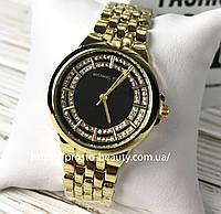 Женские часы Michael Kors (Майкл Корс) МК  золотистые чёрный циферблат с камнями